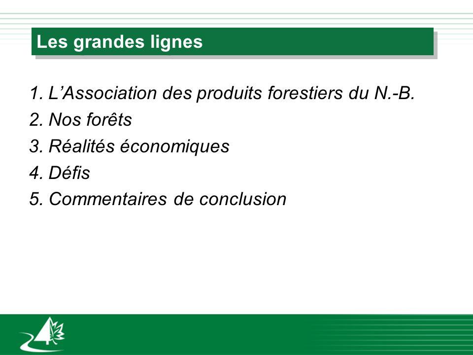 Les grandes lignes 1.LAssociation des produits forestiers du N.-B. 2.Nos forêts 3.Réalités économiques 4.Défis 5.Commentaires de conclusion