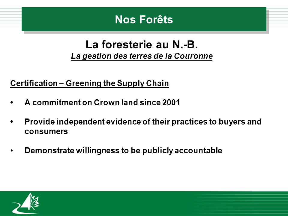 Nos Forêts La foresterie au N.-B. La gestion des terres de la Couronne Certification – Greening the Supply Chain A commitment on Crown land since 2001