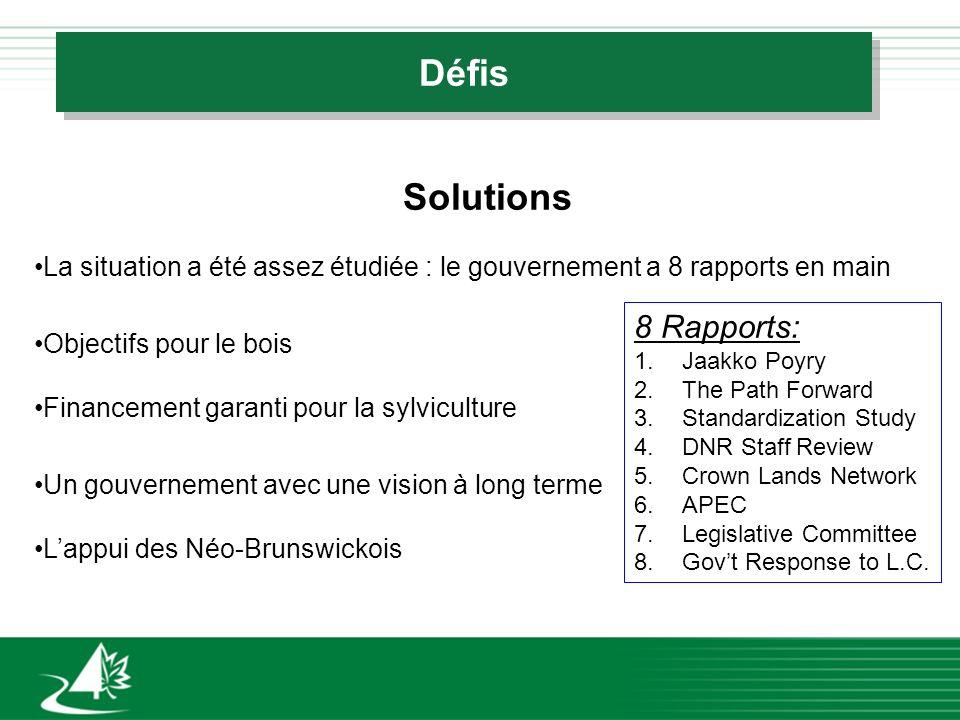 Défis Solutions La situation a été assez étudiée : le gouvernement a 8 rapports en main Objectifs pour le bois Financement garanti pour la sylvicultur