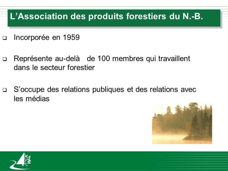 LAssociation des produits forestiers du N.-B. q Incorporée en 1959 q Représente au-delà de 100 membres qui travaillent dans le secteur forestier q Soc