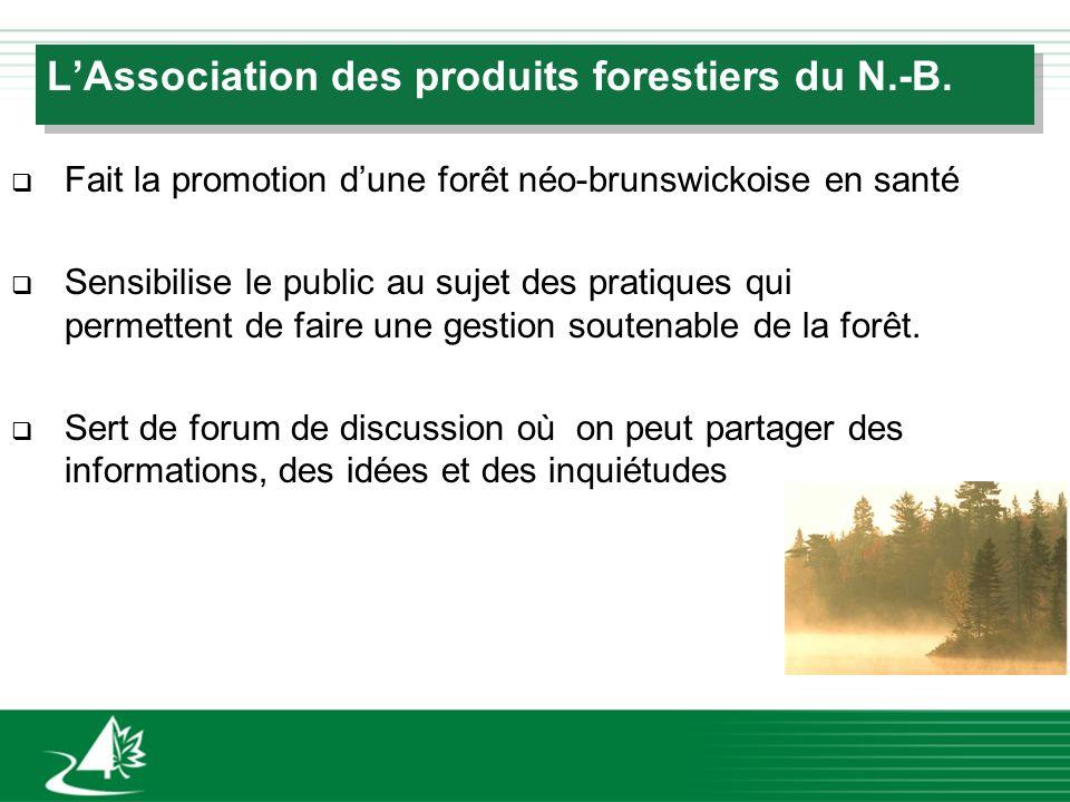 LAssociation des produits forestiers du N.-B. q Fait la promotion dune forêt néo-brunswickoise en santé q Sensibilise le public au sujet des pratiques
