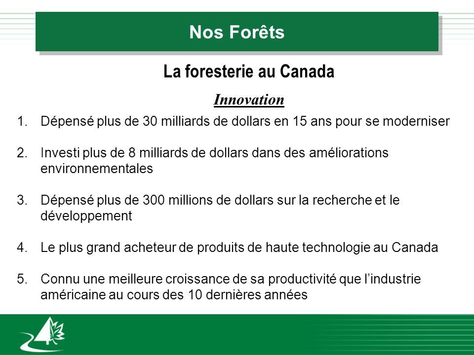 Nos Forêts La foresterie au Canada Innovation 1.Dépensé plus de 30 milliards de dollars en 15 ans pour se moderniser 2.Investi plus de 8 milliards de dollars dans des améliorations environnementales 3.Dépensé plus de 300 millions de dollars sur la recherche et le développement 4.Le plus grand acheteur de produits de haute technologie au Canada 5.Connu une meilleure croissance de sa productivité que lindustrie américaine au cours des 10 dernières années