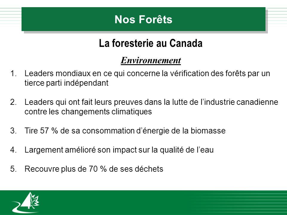 Nos Forêts La foresterie au Canada Environnement 1.Leaders mondiaux en ce qui concerne la vérification des forêts par un tierce parti indépendant 2.Leaders qui ont fait leurs preuves dans la lutte de lindustrie canadienne contre les changements climatiques 3.Tire 57 % de sa consommation dénergie de la biomasse 4.Largement amélioré son impact sur la qualité de leau 5.Recouvre plus de 70 % de ses déchets