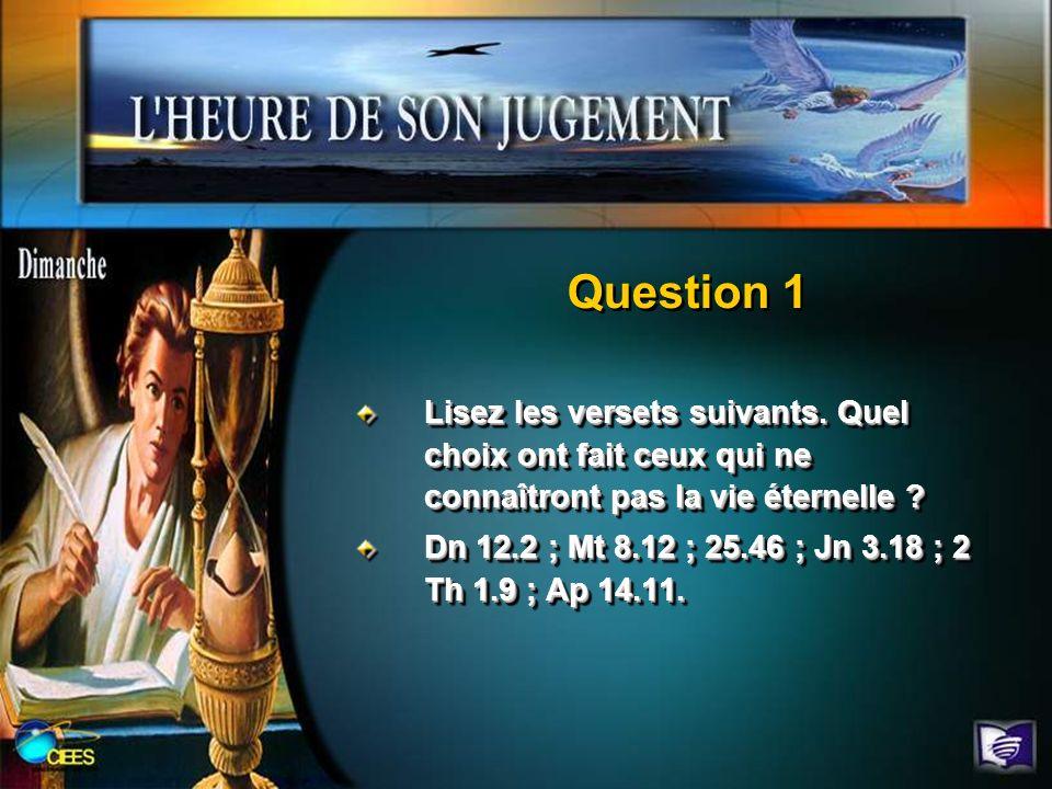 Lisez les versets suivants. Quel choix ont fait ceux qui ne connaîtront pas la vie éternelle ? Dn 12.2 ; Mt 8.12 ; 25.46 ; Jn 3.18 ; 2 Th 1.9 ; Ap 14.