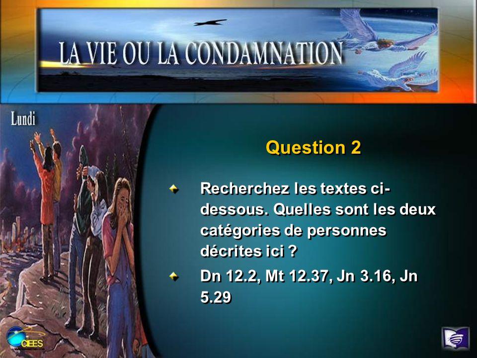 Question 2 Recherchez les textes ci- dessous. Quelles sont les deux catégories de personnes décrites ici ? Dn 12.2, Mt 12.37, Jn 3.16, Jn 5.29 Recherc