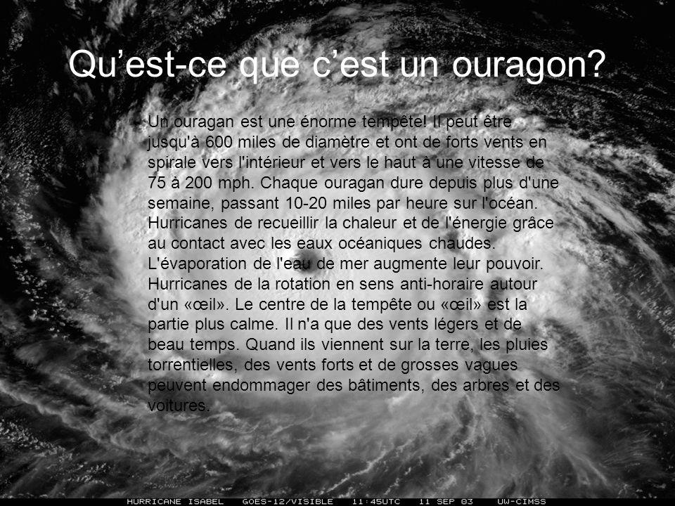 Les Ouragans se crée en cinq étapes: Leau chaude (plus que 8O°F) donne dénergie pour louragan et cause plus dévaporation, fait plus dair et nuages hum