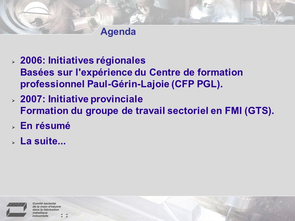 Agenda 2006: Initiatives régionales Basées sur l expérience du Centre de formation professionnel Paul-Gérin-Lajoie (CFP PGL).