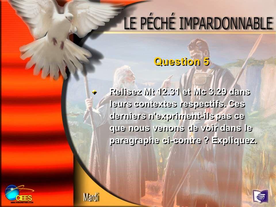Question 6 Relisez Mt 12.32 ; Mc 3.29.
