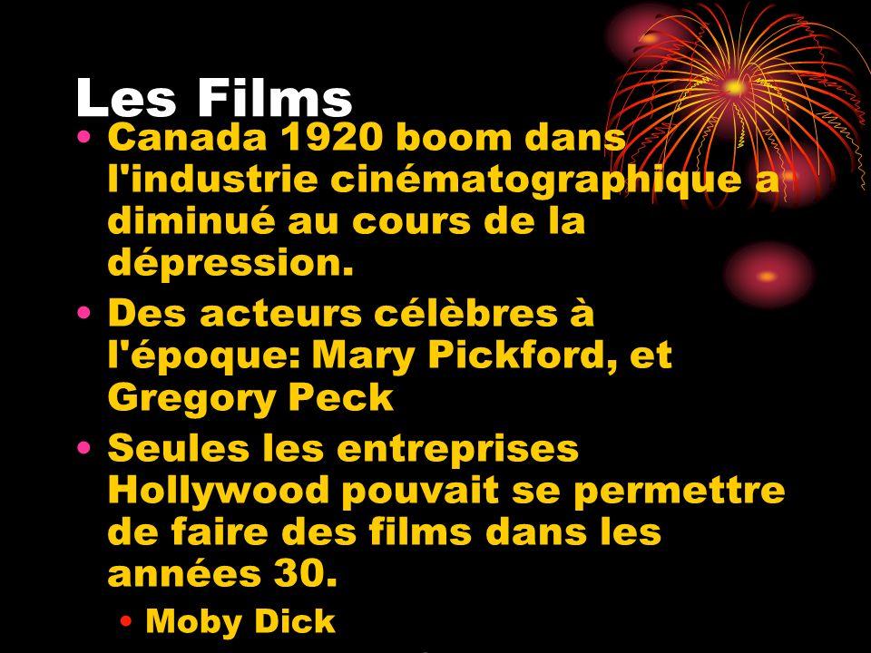 Les Films Canada 1920 boom dans l'industrie cinématographique a diminué au cours de la dépression. Des acteurs célèbres à l'époque: Mary Pickford, et