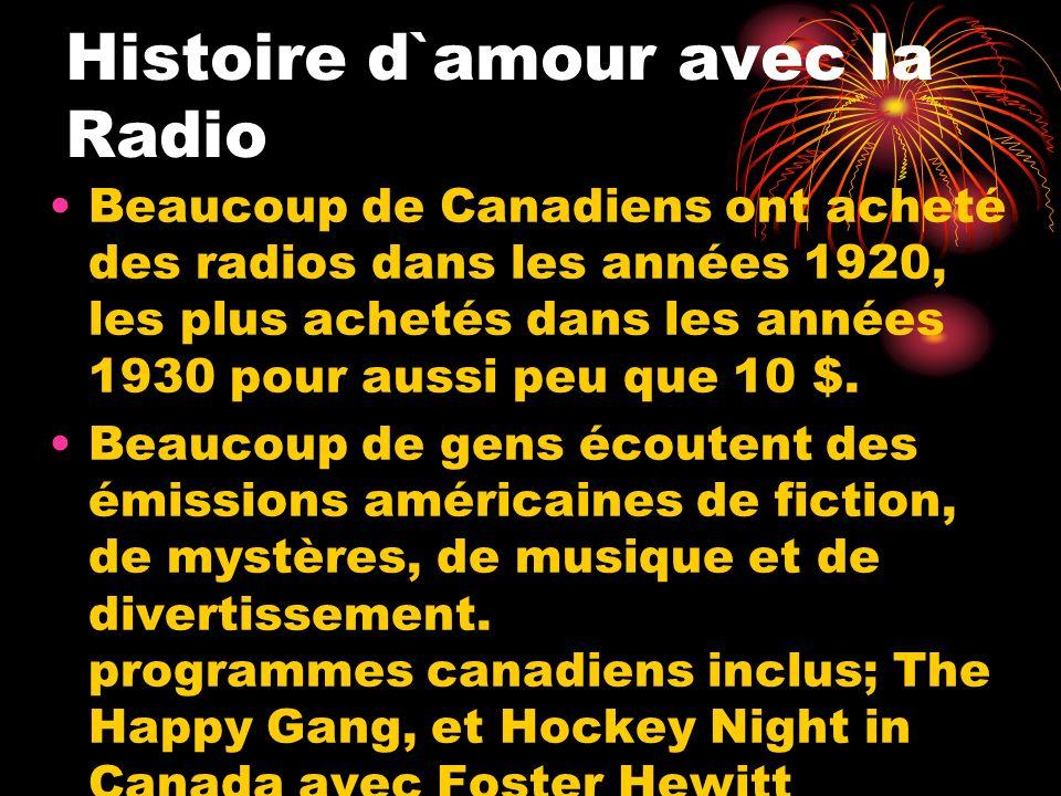Histoire d`amour avec la Radio Beaucoup de Canadiens ont acheté des radios dans les années 1920, les plus achetés dans les années 1930 pour aussi peu
