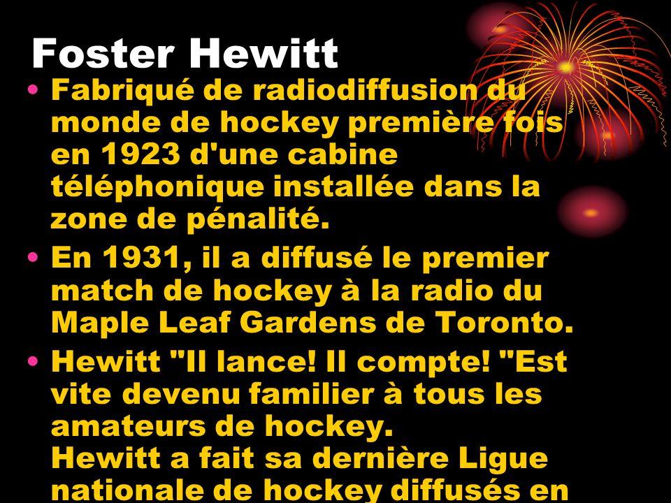 Foster Hewitt Fabriqué de radiodiffusion du monde de hockey première fois en 1923 d'une cabine téléphonique installée dans la zone de pénalité. En 193