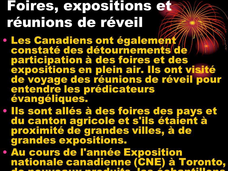 Foires, expositions et réunions de réveil Les Canadiens ont également constaté des détournements de participation à des foires et des expositions en p