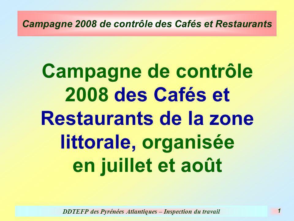 DDTEFP des Pyrénées Atlantiques – Inspection du travail 1 Campagne 2008 de contrôle des Cafés et Restaurants Campagne de contrôle 2008 des Cafés et Restaurants de la zone littorale, organisée en juillet et août
