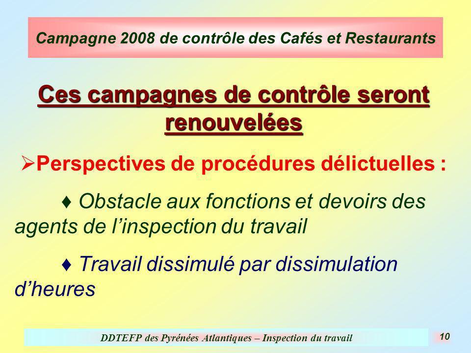 DDTEFP des Pyrénées Atlantiques – Inspection du travail 10 Campagne 2008 de contrôle des Cafés et Restaurants Ces campagnes de contrôle seront renouve