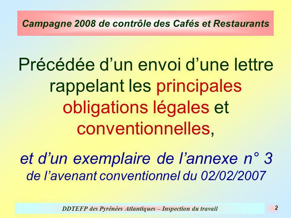 DDTEFP des Pyrénées Atlantiques – Inspection du travail 2 Campagne 2008 de contrôle des Cafés et Restaurants Précédée dun envoi dune lettre rappelant les principales obligations légales et conventionnelles, et dun exemplaire de lannexe n° 3 de lavenant conventionnel du 02/02/2007