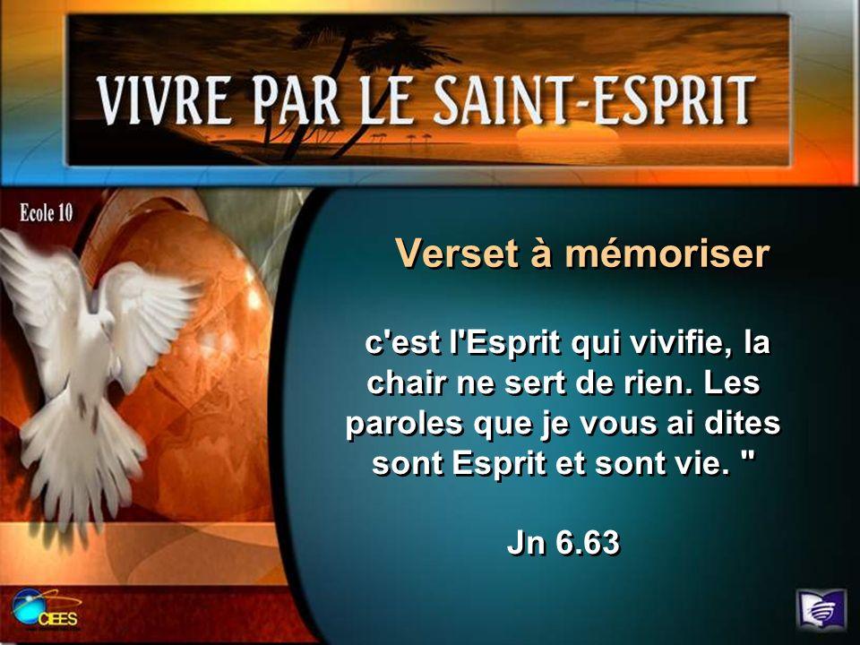 Verset à mémoriser c'est l'Esprit qui vivifie, la chair ne sert de rien. Les paroles que je vous ai dites sont Esprit et sont vie.