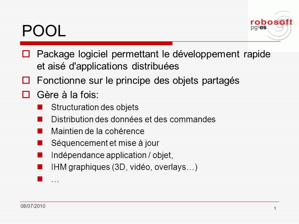 POOL 08/07/2010 1 Package logiciel permettant le développement rapide et aisé d'applications distribuées Fonctionne sur le principe des objets partagé