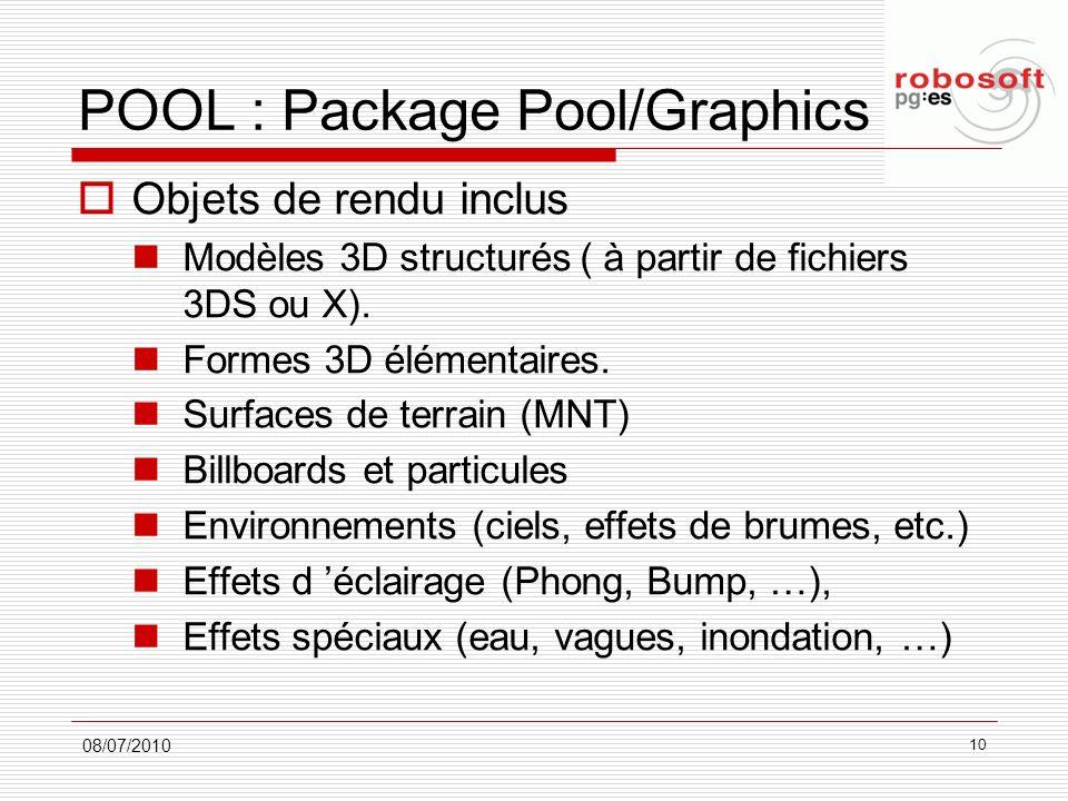 POOL : Package Pool/Graphics Objets de rendu inclus Modèles 3D structurés ( à partir de fichiers 3DS ou X). Formes 3D élémentaires. Surfaces de terrai