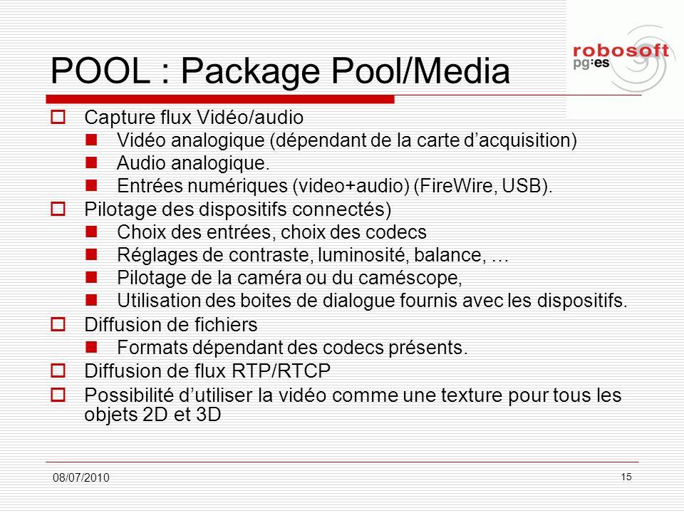 POOL : Package Pool/Media Capture flux Vidéo/audio Vidéo analogique (dépendant de la carte dacquisition) Audio analogique. Entrées numériques (video+a