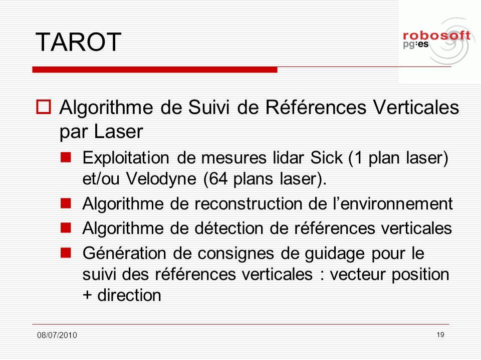 TAROT Algorithme de Suivi de Références Verticales par Laser Exploitation de mesures lidar Sick (1 plan laser) et/ou Velodyne (64 plans laser). Algori