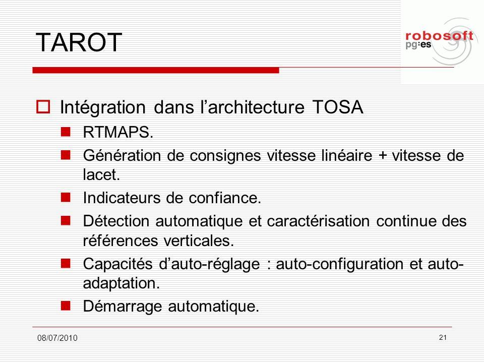 TAROT Intégration dans larchitecture TOSA RTMAPS. Génération de consignes vitesse linéaire + vitesse de lacet. Indicateurs de confiance. Détection aut