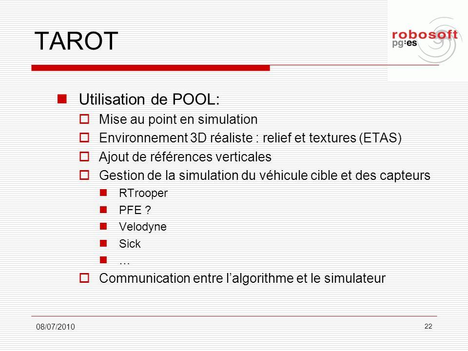 TAROT Utilisation de POOL: Mise au point en simulation Environnement 3D réaliste : relief et textures (ETAS) Ajout de références verticales Gestion de
