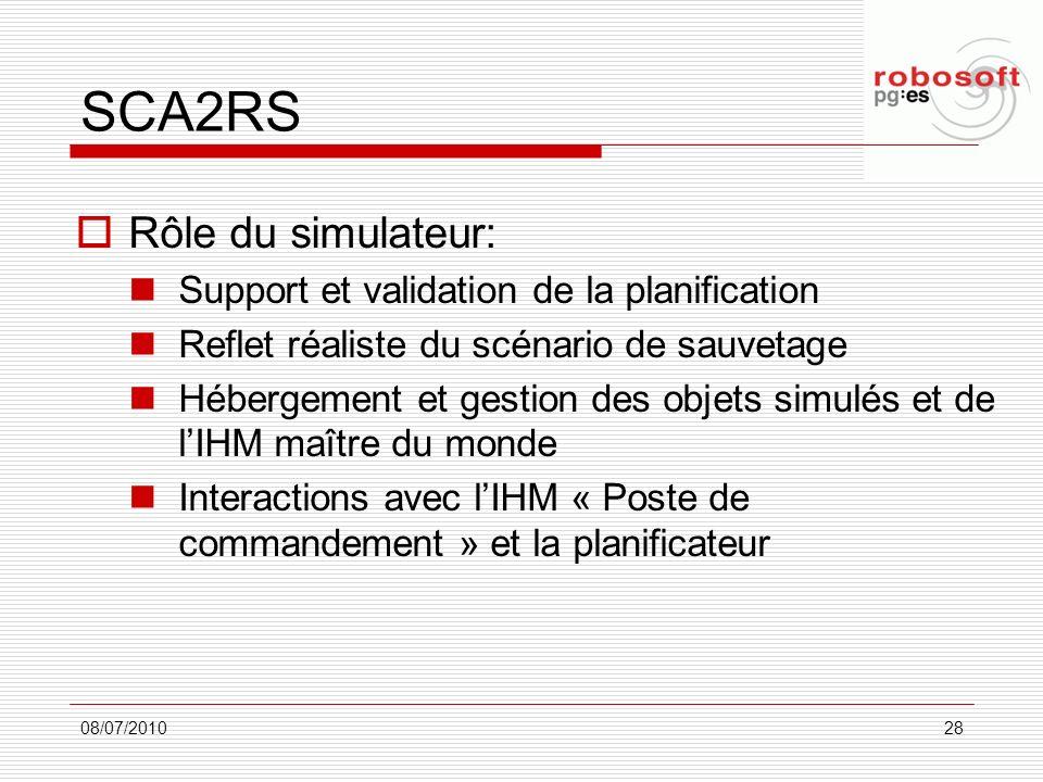 SCA2RS Rôle du simulateur: Support et validation de la planification Reflet réaliste du scénario de sauvetage Hébergement et gestion des objets simulé