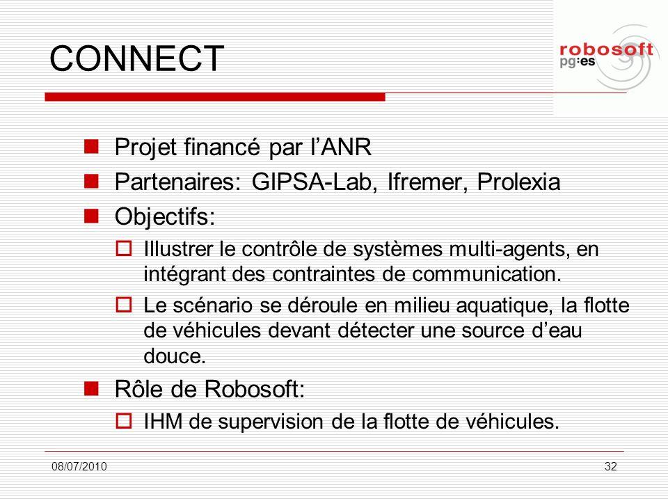CONNECT Projet financé par lANR Partenaires: GIPSA-Lab, Ifremer, Prolexia Objectifs: Illustrer le contrôle de systèmes multi-agents, en intégrant des