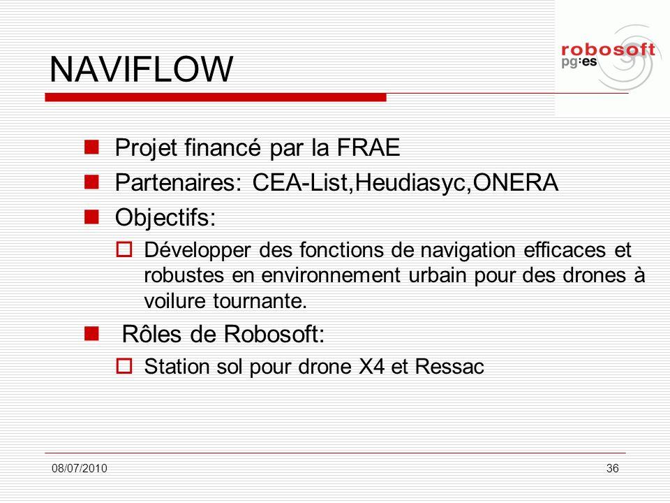 NAVIFLOW Projet financé par la FRAE Partenaires: CEA-List,Heudiasyc,ONERA Objectifs: Développer des fonctions de navigation efficaces et robustes en e