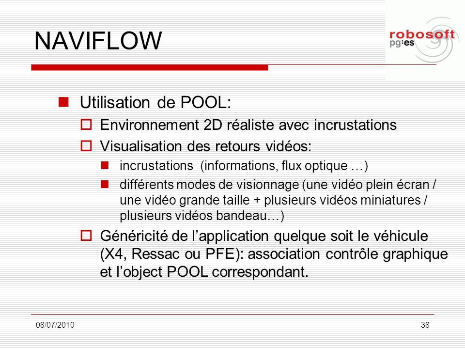 NAVIFLOW Utilisation de POOL: Environnement 2D réaliste avec incrustations Visualisation des retours vidéos: incrustations (informations, flux optique