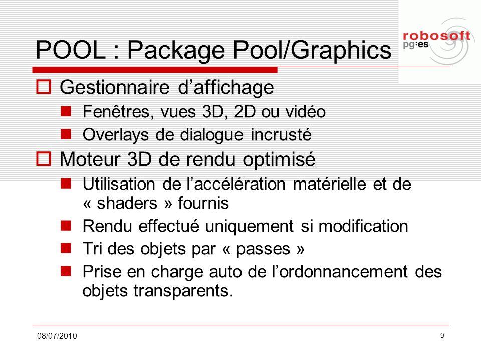 POOL : Package Pool/Graphics Gestionnaire daffichage Fenêtres, vues 3D, 2D ou vidéo Overlays de dialogue incrusté Moteur 3D de rendu optimisé Utilisat