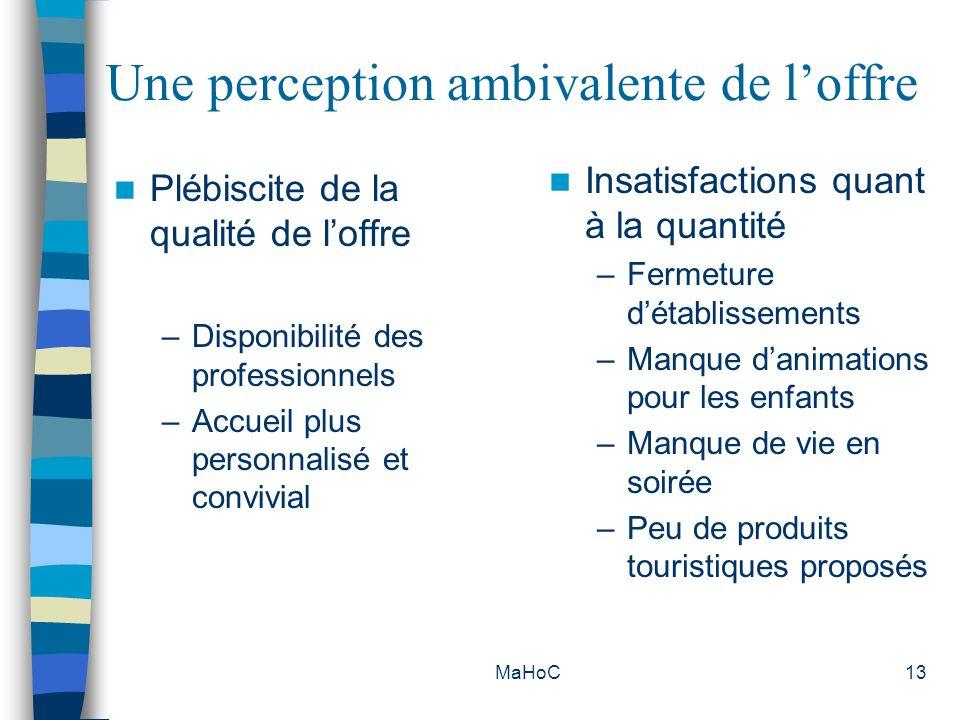 MaHoC13 Une perception ambivalente de loffre Plébiscite de la qualité de loffre –Disponibilité des professionnels –Accueil plus personnalisé et conviv