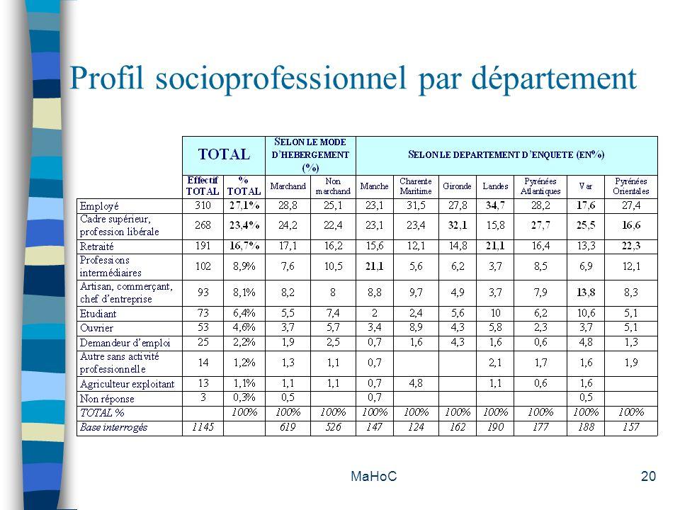 MaHoC20 Profil socioprofessionnel par département