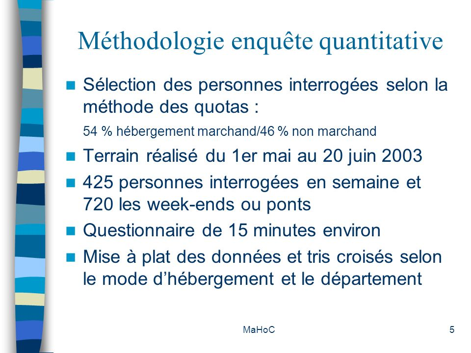 MaHoC5 Méthodologie enquête quantitative Sélection des personnes interrogées selon la méthode des quotas : 54 % hébergement marchand/46 % non marchand