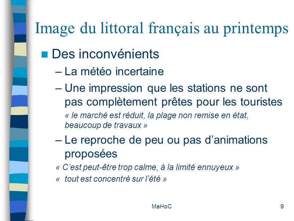 MaHoC30 Catégories de clientèles par département - Une sous représentation de la clientèle « en famille » (18%) et une surreprésentation de la clientèle « seule » qui vient en troisième position (16%) dans la Manche - Une prédominance de la clientèle « en famille » (58%) loin devant la clientèle en couple (29%) et une sous représentation de la clientèle « entre amis » (4%) en Charente Maritime - Une sous représentation de la clientèle « en famille » (17%) et une surreprésentation de la clientèle « seule » qui arrive en seconde position (17%) en Gironde - Une sur représentation de la clientèle « en couple » (58%) et une sous représentation de la clientèle « seule » (3%) dans les Pyrénées Atlantiques - Une sur représentation de la clientèle « seule » qui arrive en seconde position (21%) et une sous représentation de la clientèle « en couple » (39%) et en famille (19%) dans le Var - Une sur représentation de la clientèle « en couple » (64%) et une sous représentation de la clientèle « en famille » (15%) dans les Pyrénées Orientales