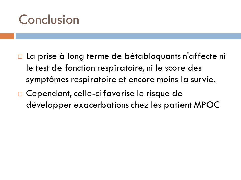 Conclusion La prise à long terme de bétabloquants n'affecte ni le test de fonction respiratoire, ni le score des symptômes respiratoire et encore moin