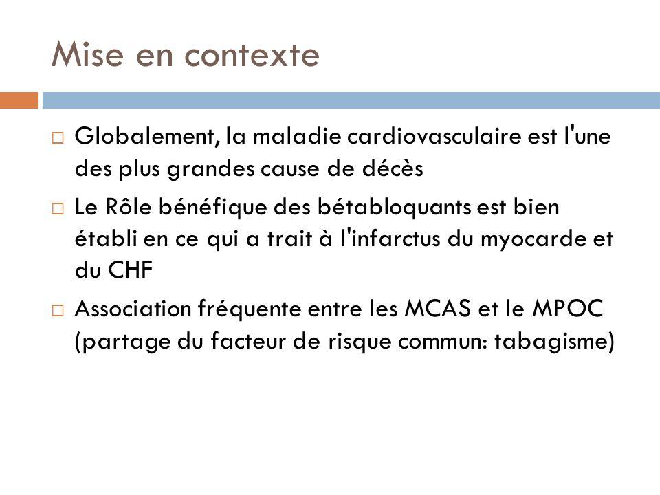 Mise en contexte Risque plus élevé des patients avec MPOC de développer un événement cardiovasculaire Les bétabloquants sont traditionnellement évités en cas MPOC la majorité des grandes études qui ont établi le rôle des bétabloquants dans le schéma thérapeutique des cardiopathies ont exclus les individus à risque de développer un MPOC