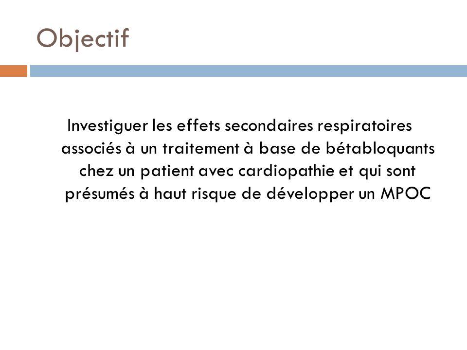 Objectif Investiguer les effets secondaires respiratoires associés à un traitement à base de bétabloquants chez un patient avec cardiopathie et qui so