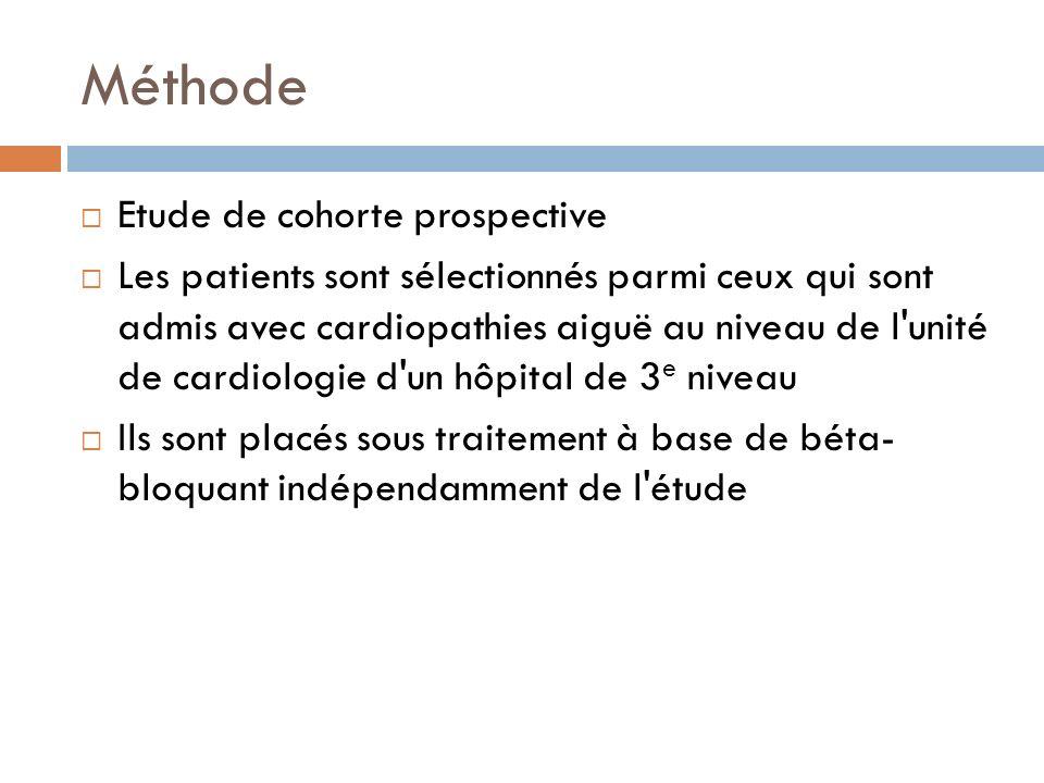 Méthode Etude de cohorte prospective Les patients sont sélectionnés parmi ceux qui sont admis avec cardiopathies aiguë au niveau de l'unité de cardiol