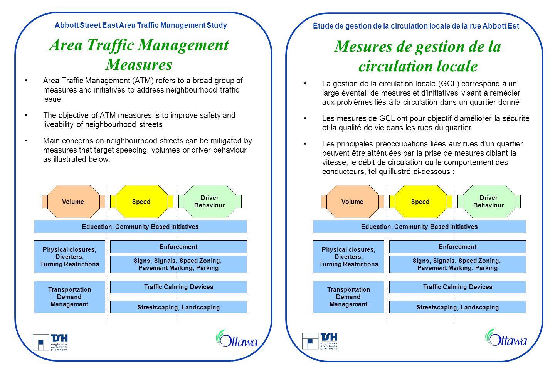 Abbott Street East Area Traffic Management Study Étude de gestion de la circulation locale de la rue Abbott Est Area Traffic Management Measures Area