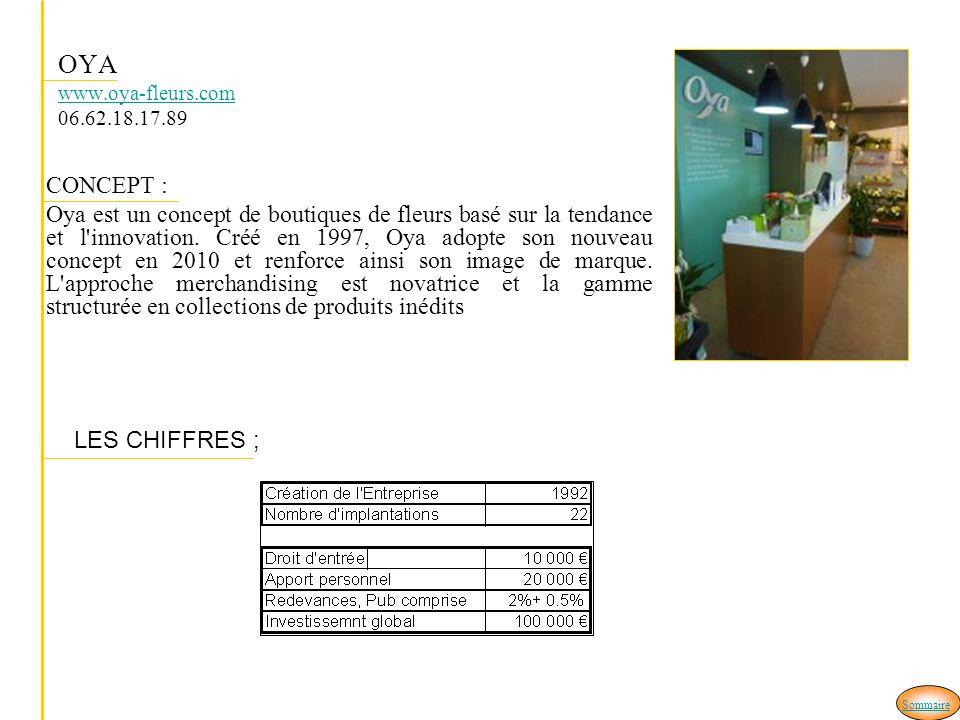 OYA www.oya-fleurs.com 06.62.18.17.89 www.oya-fleurs.com CONCEPT : Oya est un concept de boutiques de fleurs basé sur la tendance et l'innovation. Cré