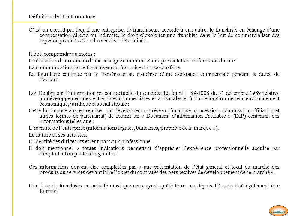 Définition de : La Franchise Cest un accord par lequel une entreprise, le franchiseur, accorde à une autre, le franchisé, en échange dune compensation