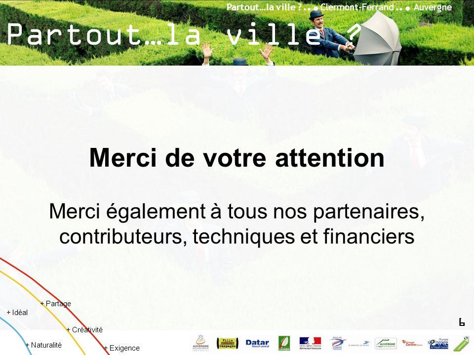 Partout…la ville ?... Clermont-Ferrand... Auvergne + Créativité + Idéal + Naturalité + Partage + Exigence Partout…la ville ? Merci de votre attention