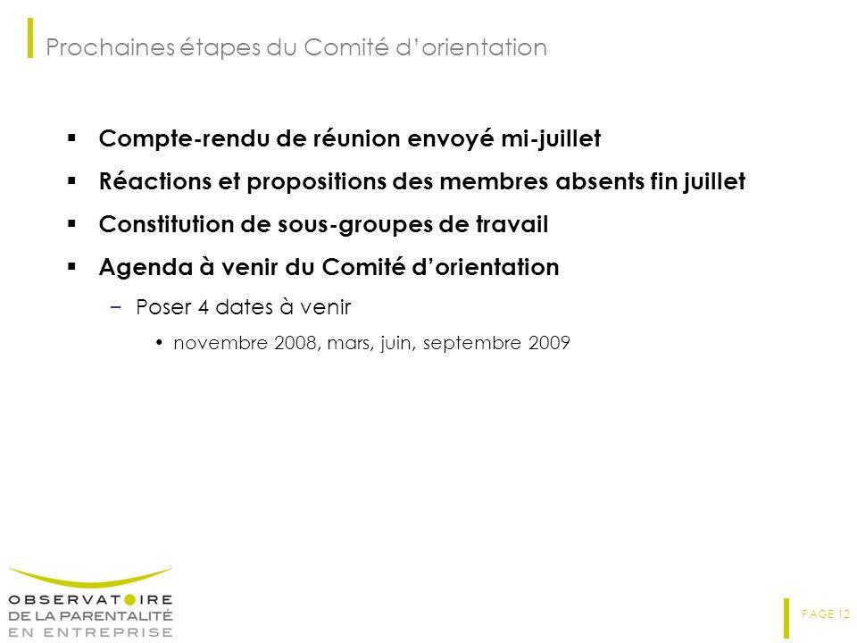 PAGE 12 Prochaines étapes du Comité dorientation Compte-rendu de réunion envoyé mi-juillet Réactions et propositions des membres absents fin juillet C