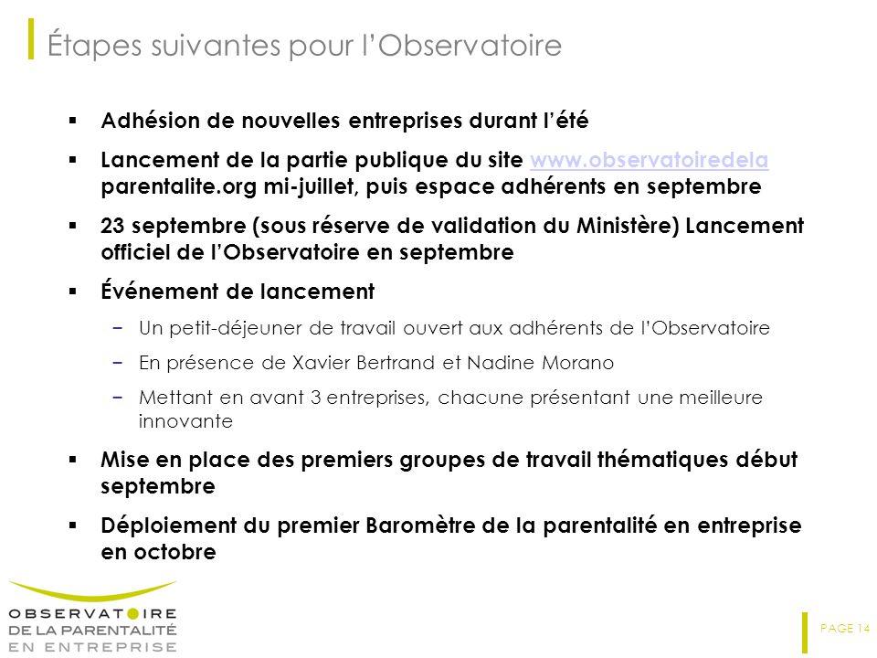 PAGE 14 Étapes suivantes pour lObservatoire Adhésion de nouvelles entreprises durant lété Lancement de la partie publique du site www.observatoiredela