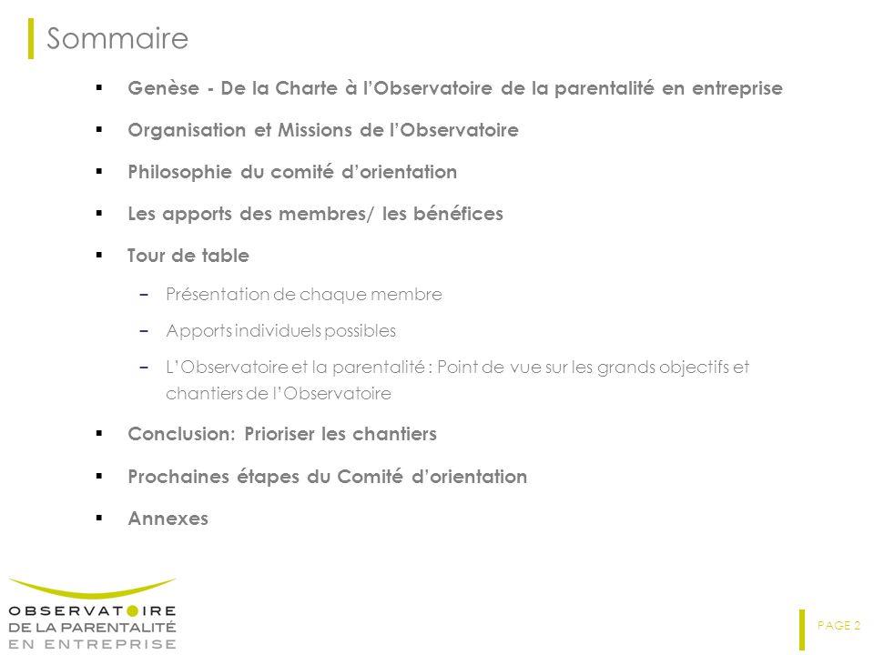 PAGE 2 Sommaire Genèse - De la Charte à lObservatoire de la parentalité en entreprise Organisation et Missions de lObservatoire Philosophie du comité
