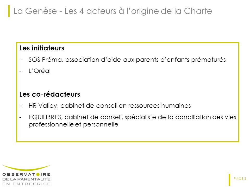PAGE 3 La Genèse - Les 4 acteurs à lorigine de la Charte Les initiateurs -SOS Préma, association daide aux parents denfants prématurés -LOréal Les co-