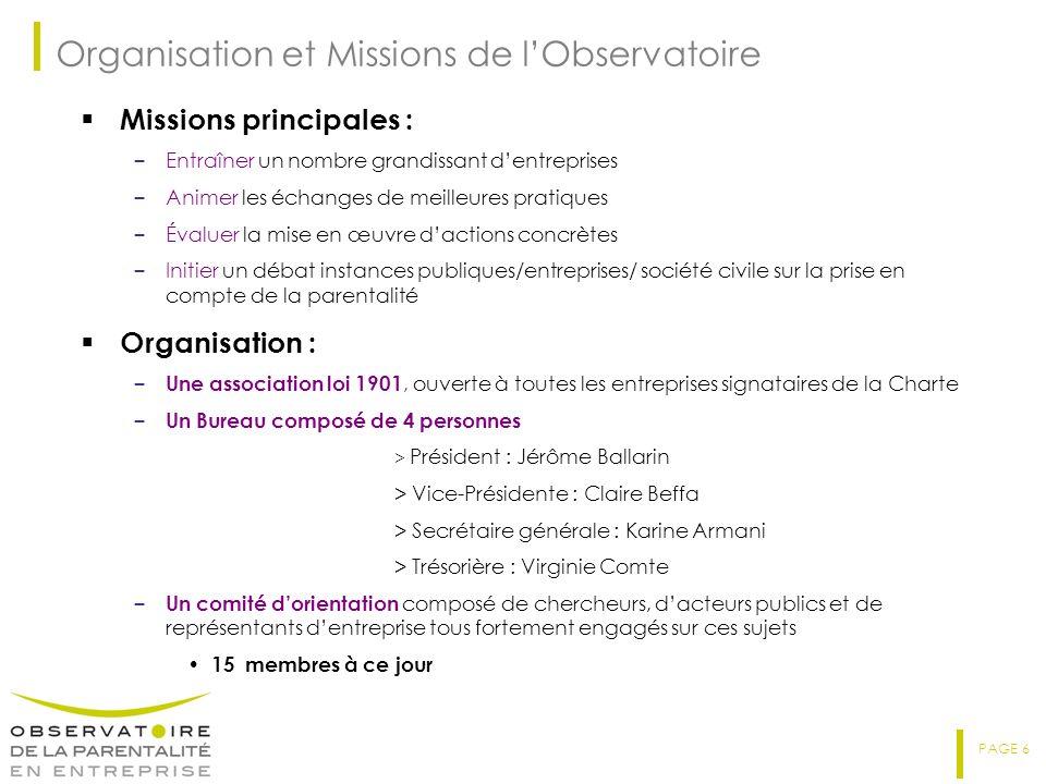 PAGE 6 Organisation et Missions de lObservatoire Missions principales : – Entraîner un nombre grandissant dentreprises – Animer les échanges de meille
