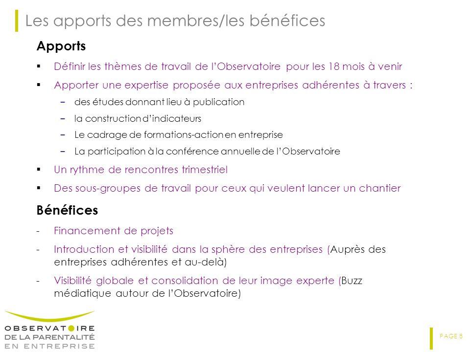 PAGE 8 Les apports des membres/les bénéfices Apports Définir les thèmes de travail de lObservatoire pour les 18 mois à venir Apporter une expertise pr