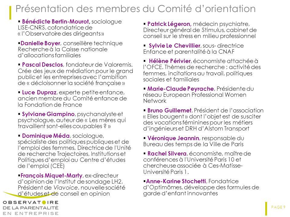 PAGE 9 Présentation des membres du Comité dorientation Bénédicte Bertin-Mourot, sociologue LISE-CNRS, cofondatrice de « lObservatoire des dirigeants » Danielle Boyer, conseillère technique Recherche à la Caisse nationale dallocations familiales Pascal Desclos, fondateur de Valoremis.